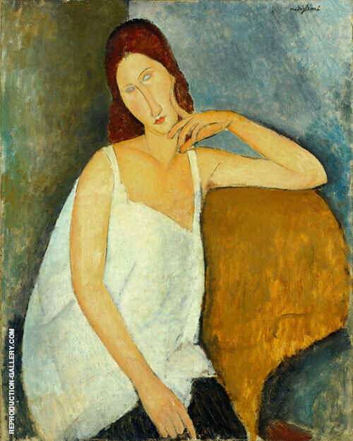 Portrait of Jeanne Hebuterne Sitting 1918 -1 By Amedeo Modigliani Replica Paintings on Canvas - Reproduction Gallery
