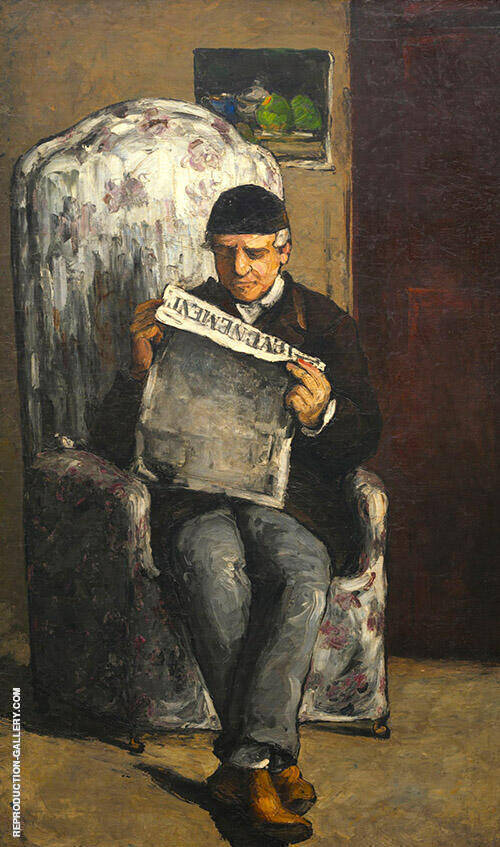 Louis Auguste Cezanne, the Artist's Father, Reading L'Evenement, 1866 Painting By ...