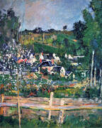 View of Auvers-sur-Oise-The Fence, 1873 By Paul Cezanne