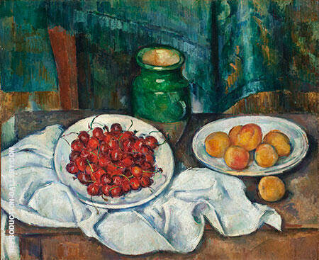 Cherries and Peaches, 1883-1887 By Paul Cezanne - Oil Paintings & Art Reproductions - Reproduction Gallery
