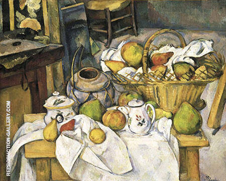 Vessels, Basket and Fruit The Kitchen Table 1888-1890 By Paul Cezanne