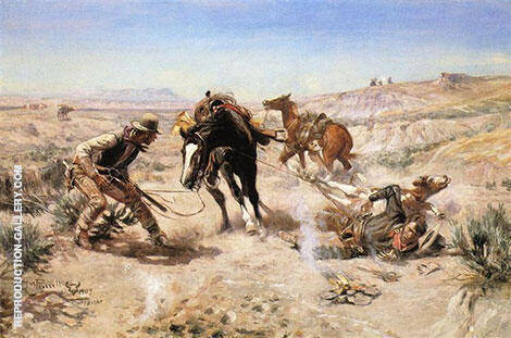 The Cinch Ring 1909 Painting By Charles M Russell - Reproduction Gallery