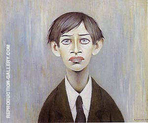 Portrait of a Young Man 1955 (Man with the Red Eyes) Painting By L-S-Lowry