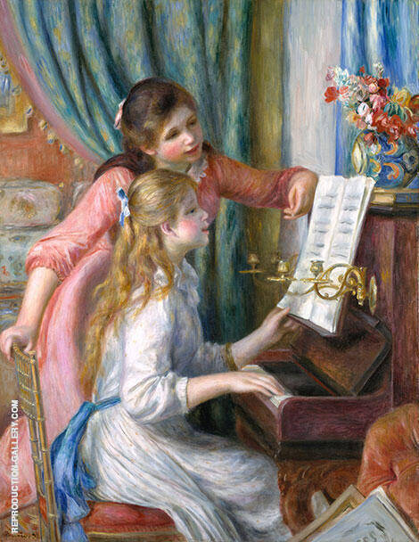 Two Girls at the Piano 1892 By Pierre Auguste Renoir - Oil Paintings & Art Reproductions - Reproduction Gallery