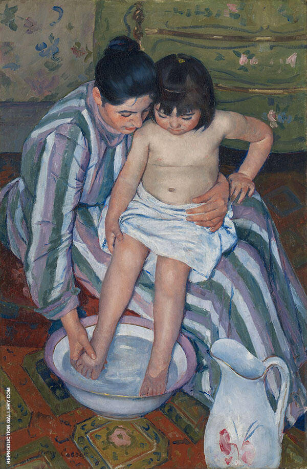 The Child's Bath 1893 by Mary Cassatt | Oil Painting Reproduction Replica On Canvas - Reproduction Gallery