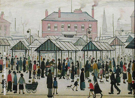 Market Scene, Northern Town 1939 Painting By L-S-Lowry