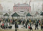 Market Scene, Northern Town 1939 By L-S-Lowry