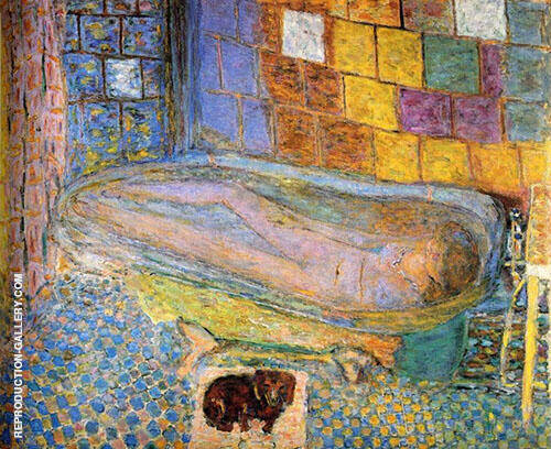 Nude in the Bath and Small Dog By Pierre Bonnard