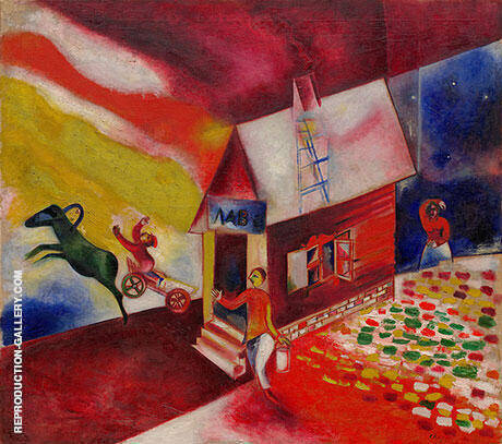 The Flying Carriage 1913 Painting By Marc Chagall - Reproduction Gallery