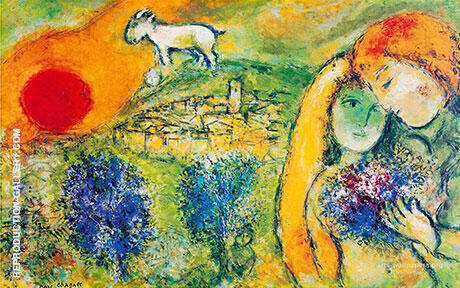 Lovers of Vence Les Amoureaux de Vence By Marc Chagall - Oil Paintings & Art Reproductions - Reproduction Gallery