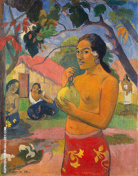 Woman Holding a Fruit Eii Haere ia oe 1893 By Paul Gauguin Replica Paintings on Canvas - Reproduction Gallery