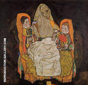 Reproduction of Mother with  Two Children 1917 by Egon Schiele | Oil Painting Replica On CanvasReproduction Gallery