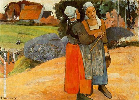 Breton Peasant Women Paysanes Bretonnes By Paul Gauguin