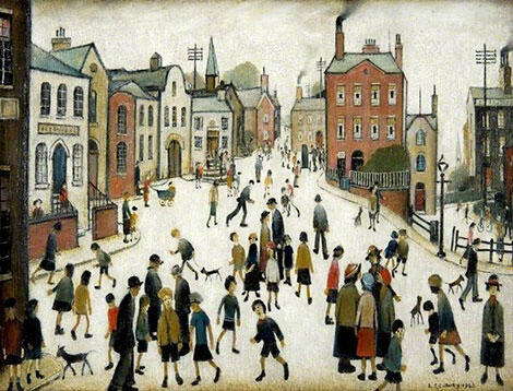 A Village Square 1943 By L-S-Lowry
