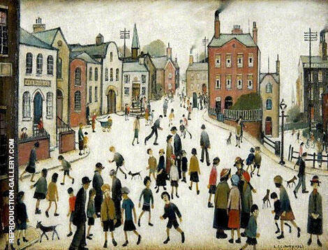 A Village Square Painting By L-S-Lowry - Reproduction Gallery