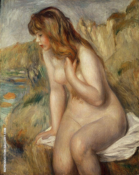Reproduction of Bather Seated on a Rock 1892 by Pierre Auguste Renoir | Oil Painting Replica On CanvasReproduction Gallery
