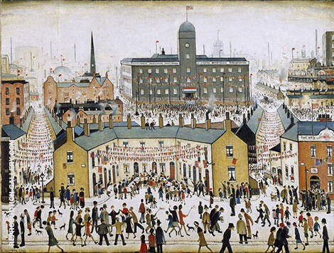 V E DAY By L-S-Lowry