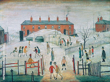 The School Yard By L-S-Lowry Replica Paintings on Canvas - Reproduction Gallery