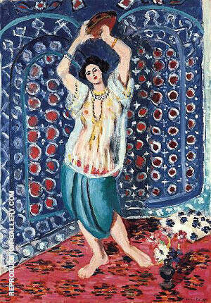Odalisque with Tamborine Harmony in Blue Painting By Henri Matisse
