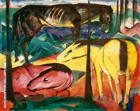 The Three Horses 1912 2 Painting By Franz Marc - Reproduction Gallery