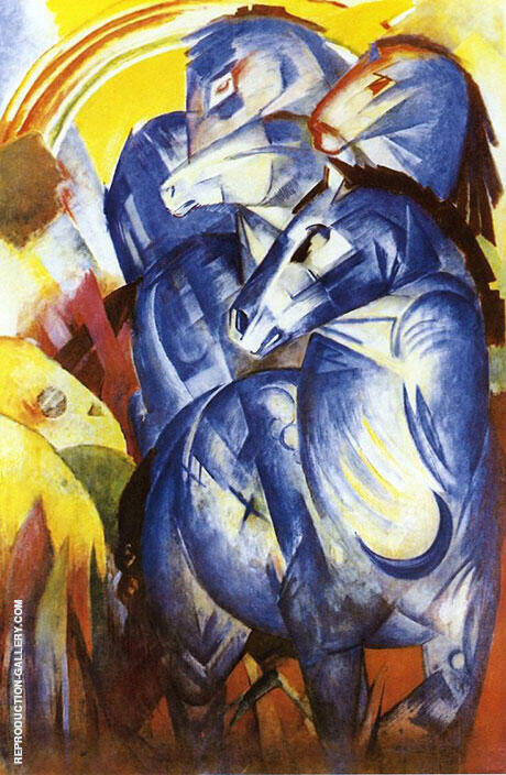 Tower of Blue Horses 1913 (Turm der Blauen Pferde) Painting By Franz Marc