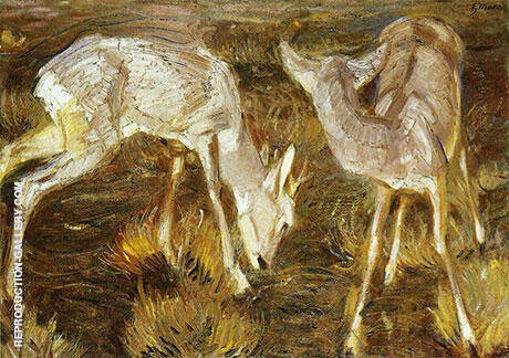 Deer at Dusk By Franz Marc - Oil Paintings & Art Reproductions - Reproduction Gallery