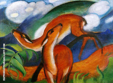 Reproduction of Red Deer II 1912 by Franz Marc | Oil Painting Replica On CanvasReproduction Gallery