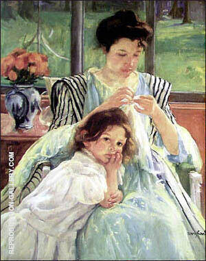 Young Mother Sewing circa 1900 By Mary Cassatt - Oil Paintings & Art Reproductions - Reproduction Gallery
