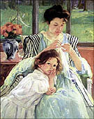 Young Mother Sewing circa 1900 By Mary Cassatt