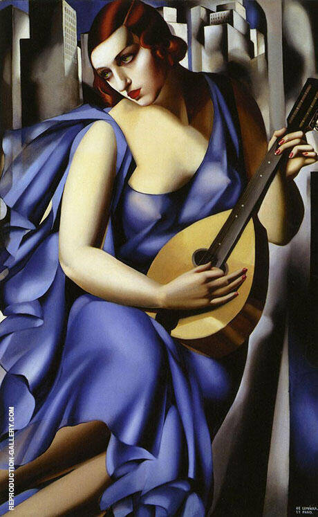 Woman In Blue With Mandolin 1929 By Tamara de Lempicka Replica Paintings on Canvas - Reproduction Gallery