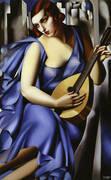Woman In Blue With Mandolin 1929 By Tamara de Lempicka