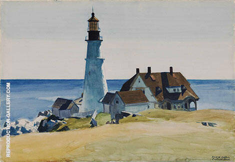Portland Head Light 1927 By Edward Hopper - Oil Paintings & Art Reproductions - Reproduction Gallery