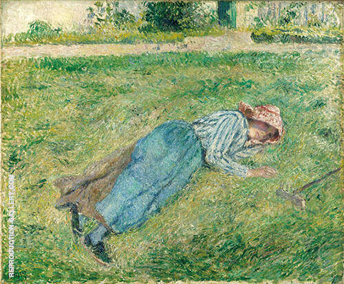 Resting, Peasant Girl Lying on the Grass, Pontoise 1882 By Camille Pissarro