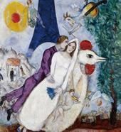 Les Marie de la Tour Eiffel c1938 By Marc Chagall