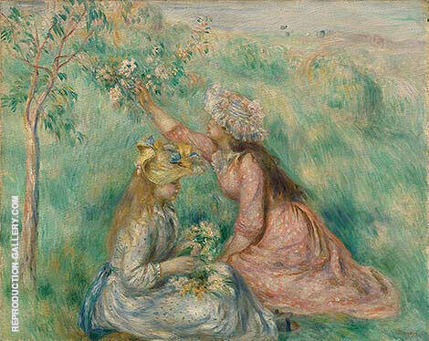 Girls Picking Flowers in a Meadow 1890 By Pierre Auguste Renoir Replica Paintings on Canvas - Reproduction Gallery