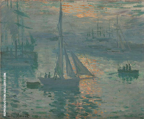 Sunrise Marine 1873 Painting By Claude Monet - Reproduction Gallery