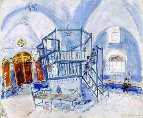 Reproduction of Interior of a Synagogue in Safed,1931 by Marc Chagall | Oil Painting Replica On CanvasReproduction Gallery