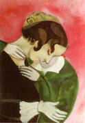 Lovers in Pink By Marc Chagall