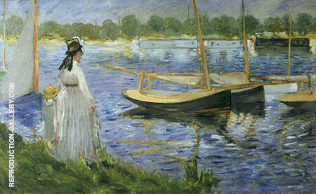 The Banks of the Seine at Argenteuil 1874 By Edouard Manet Replica Paintings on Canvas - Reproduction Gallery