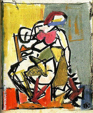 Small Seated Figure 1947 Painting By Franz Kline - Reproduction Gallery