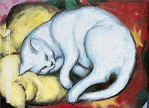 Cat on a Yellow Pillow By Franz Marc