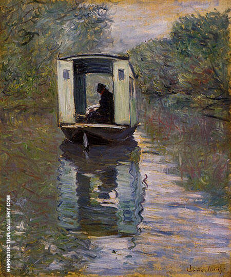 Le Bateau Atelier By Claude Monet