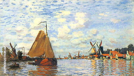The Zaan at Zaandam 1871 By Claude Monet Replica Paintings on Canvas - Reproduction Gallery