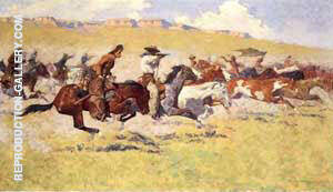 The Fight for the Stolen Herd By Frederic Remington - Oil Paintings & Art Reproductions - Reproduction Gallery