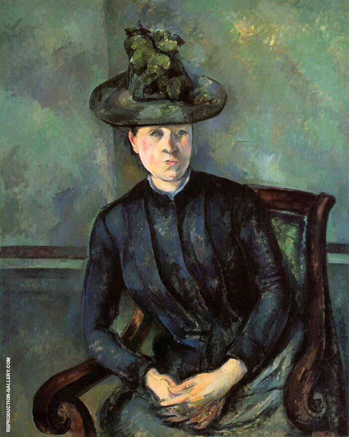 Portrait of a Woman in Green Hat Painting By Paul Cezanne