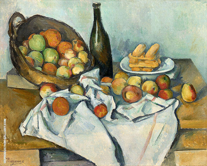 Still Life Basket of Apples Painting By Paul Cezanne