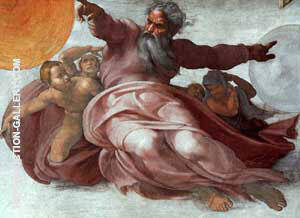 The Creation of the Heavens Detail By Michelangelo - Oil Paintings & Art Reproductions - Reproduction Gallery