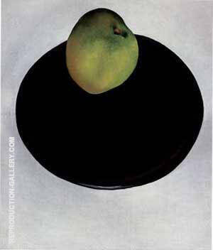 Green Apple on Black Plate 1922 Painting By Georgia O'Keeffe