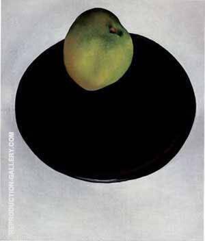 Green Apple on Black Plate 1922 By Georgia O'Keeffe