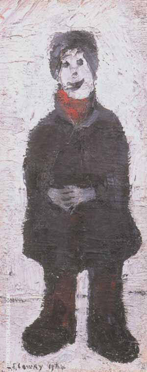Standing Man with Hands Clasped By L-S-Lowry Replica Paintings on Canvas - Reproduction Gallery